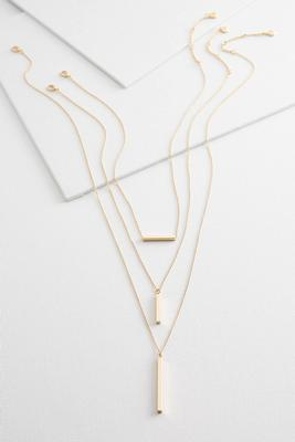 layered bar pendant necklace set