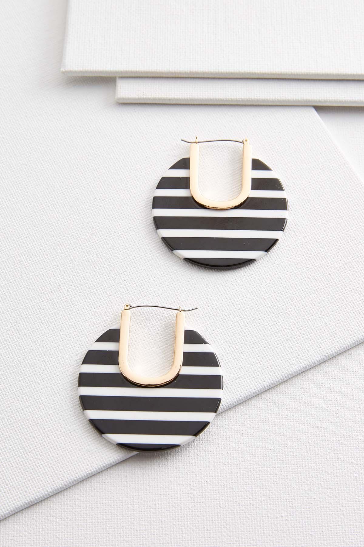 Black White Stripe Hoop Earrings