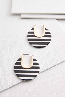 black white stripe hoop earrings