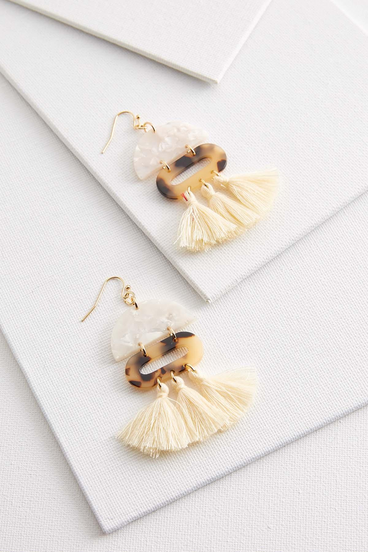 Natural Lucite Tassel Earrings