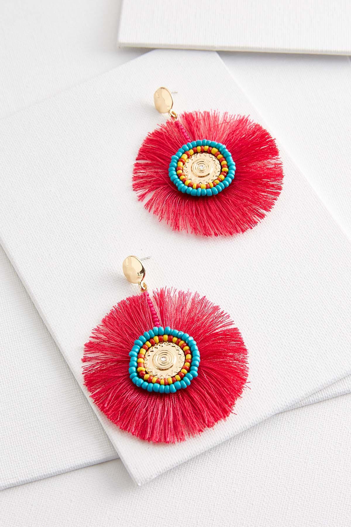 Tassel And Bead Medallion Earrings