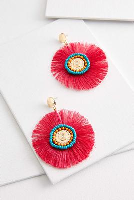 tassel and bead medallion earrings