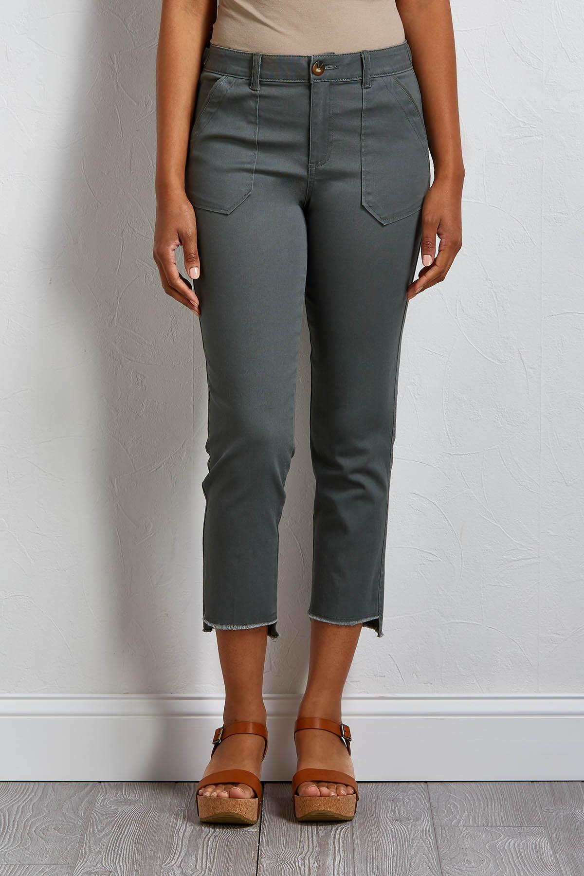 Cropped Fray Hem Utility Pants