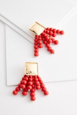 square beaded tassel earrings