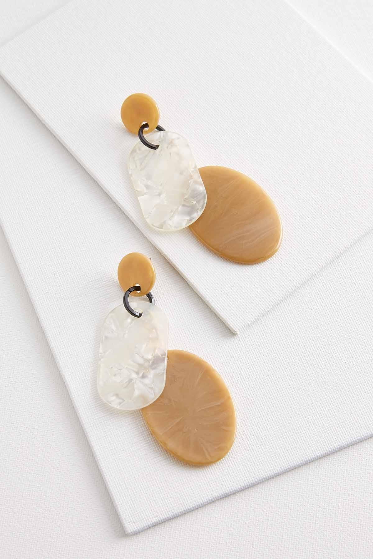 Latte Lucite Dangle Earrings