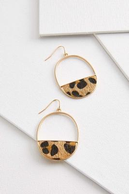 part animal oval earrings