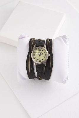 strappy leather watch