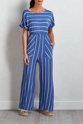 denim stripe jumpsuit