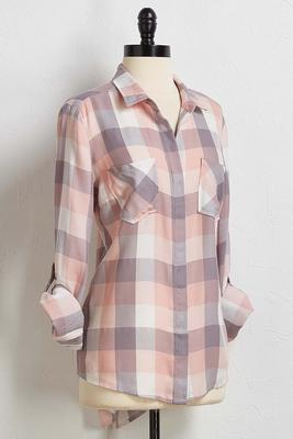 blush plaid tunic