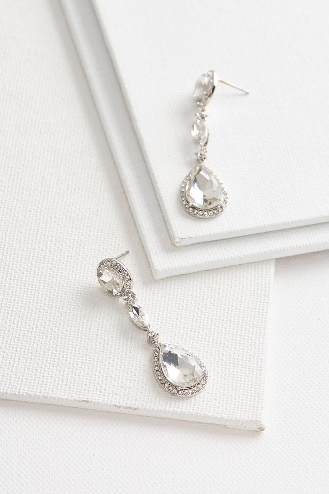 Halo Stone Dangle Earrings