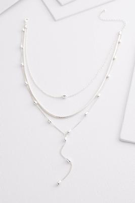 silver layered y-necklace
