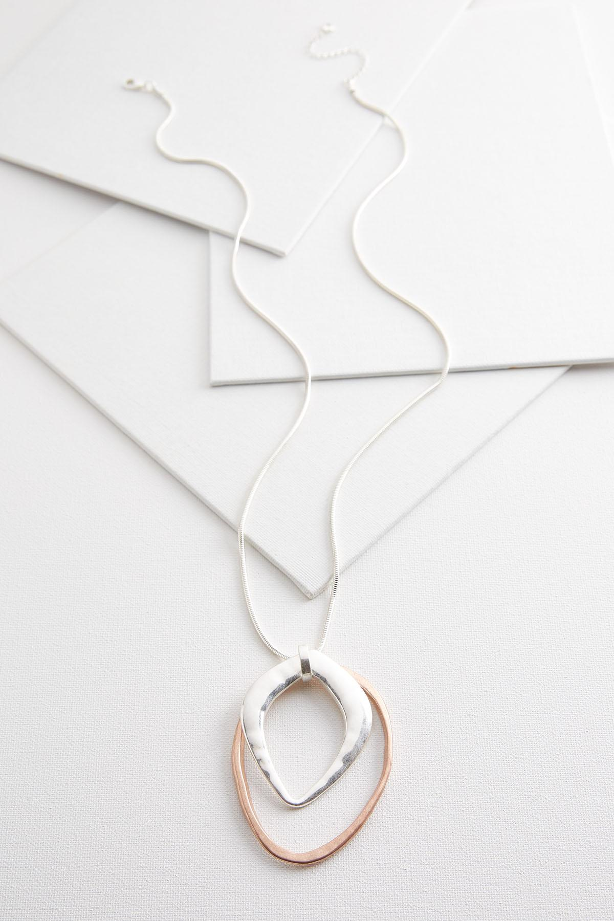 Hammered Two- Toned Pendant Necklace