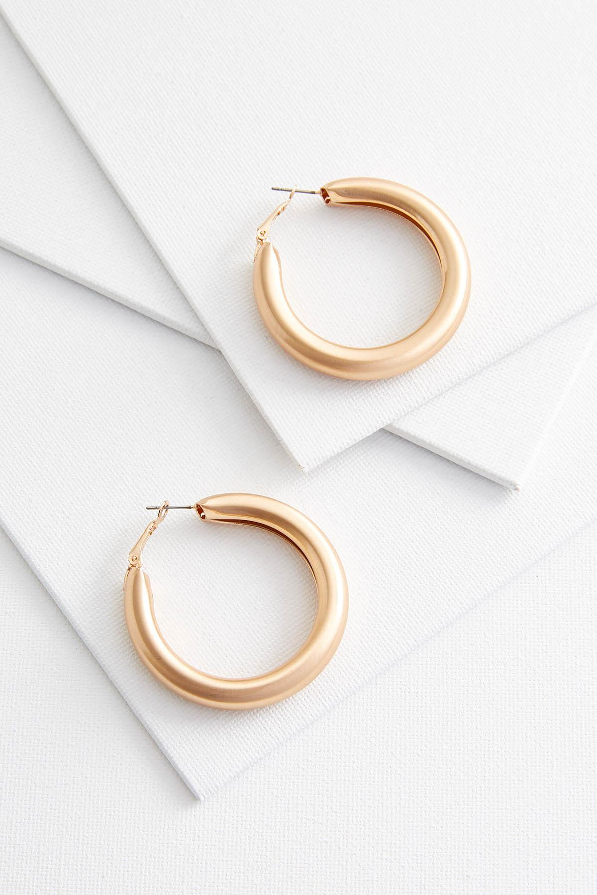 Thick Brushed Gold Hoop Earrings