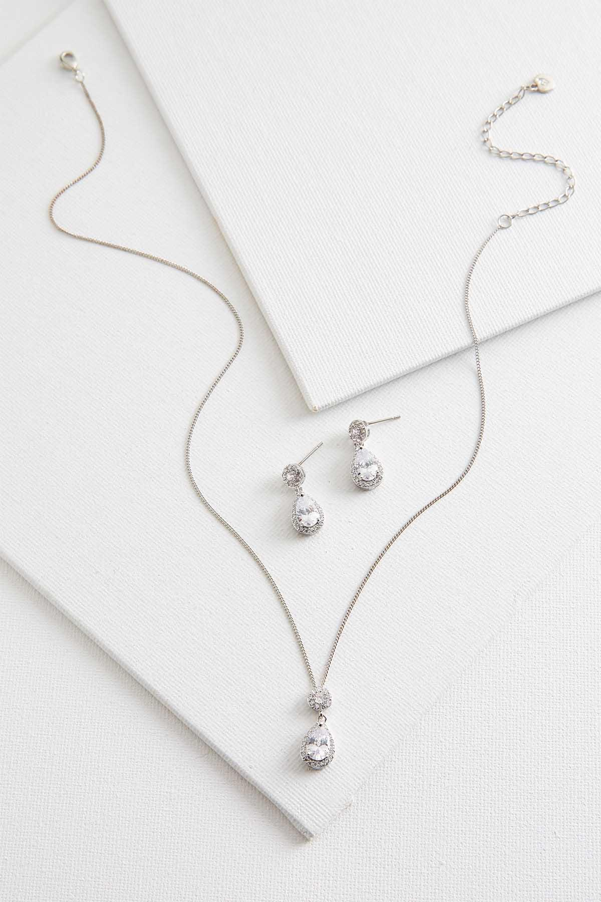 Tear Shaped Necklace And Earring Set
