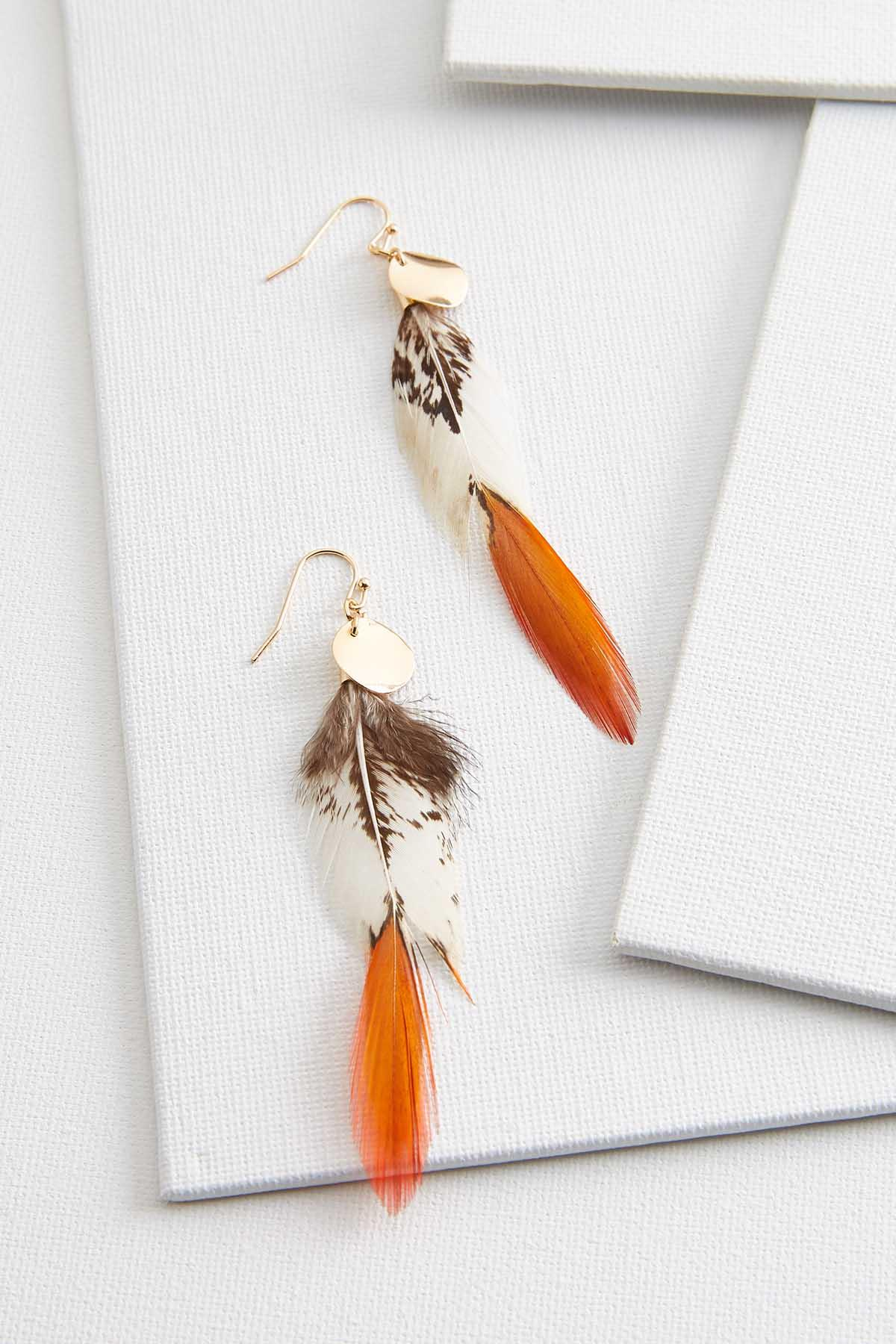 Gold And Feather Earrings