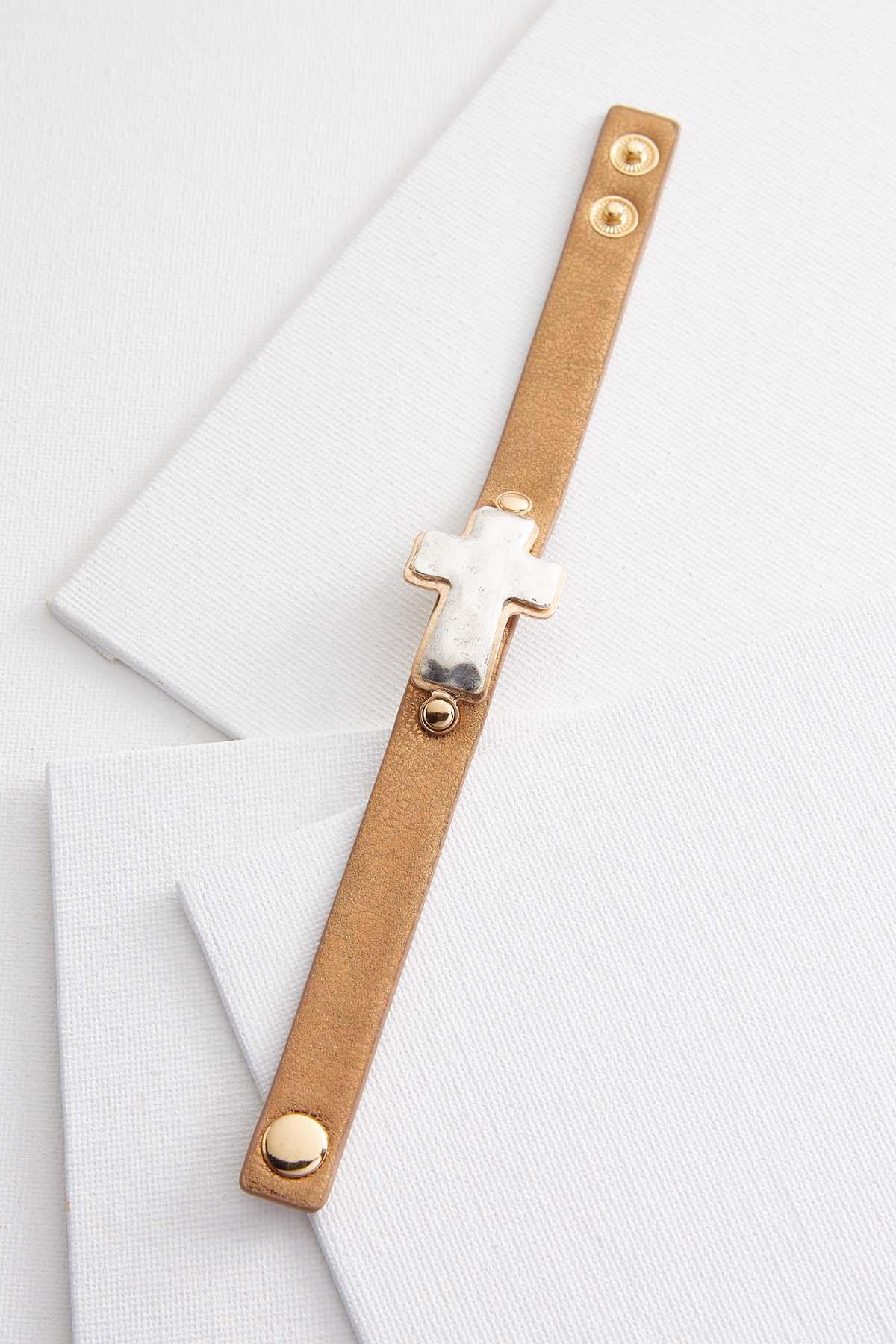 Hammered Cross Strap Bracelet