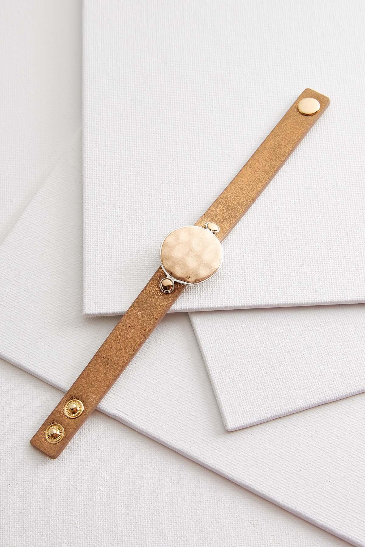 Hammered Disk Strap Bracelet