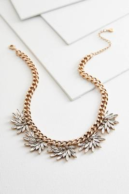 stone petal bib necklace