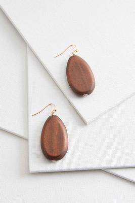 wooden tear shaped earrings