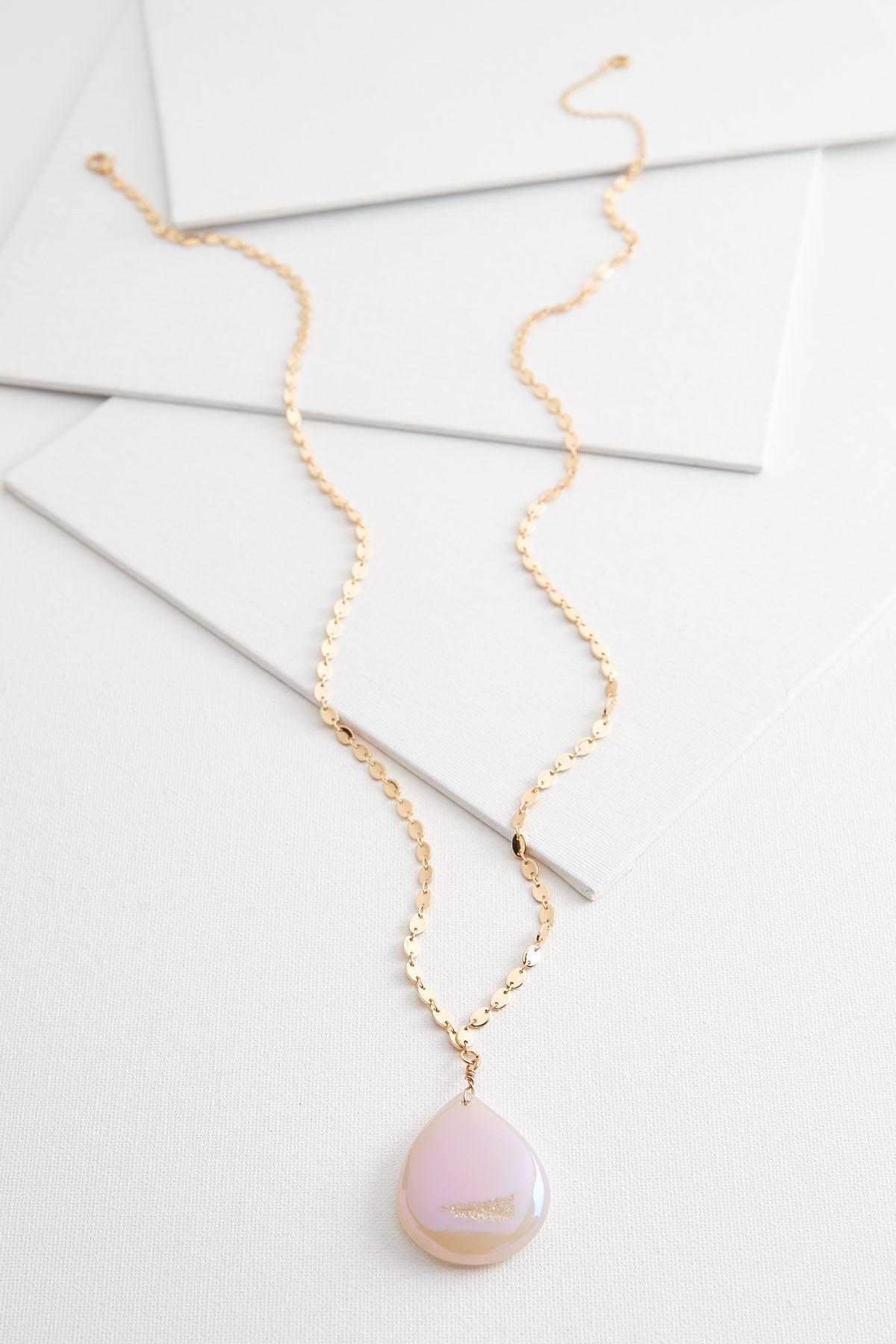 Semi Sparkle Stone Pendant Necklace
