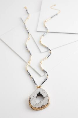 gold border druzy necklace
