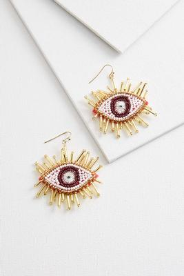 beaded eye earrings