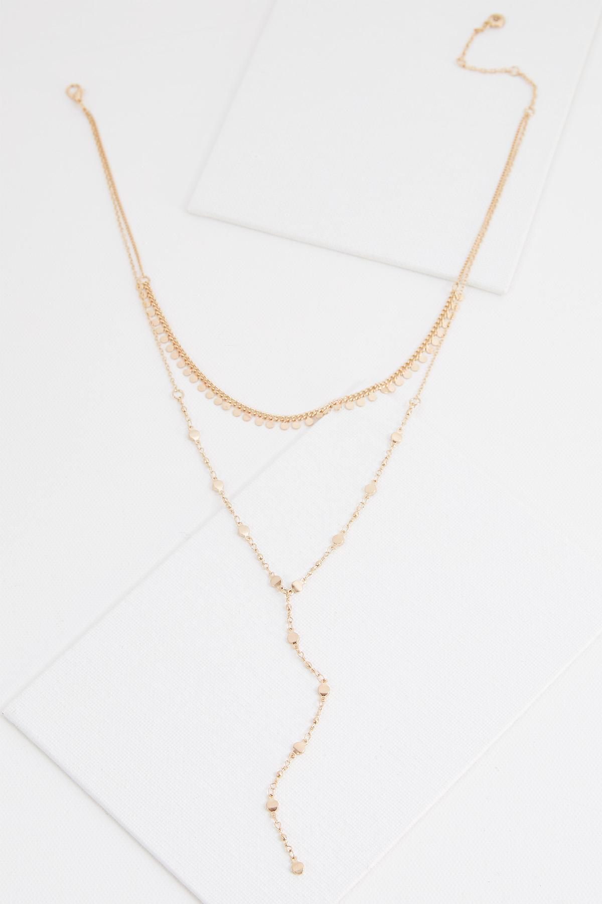 Layered Disc Y- Necklace