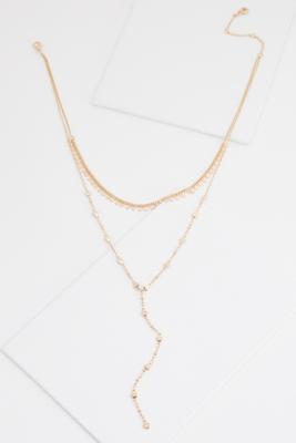 layered disc y-necklace