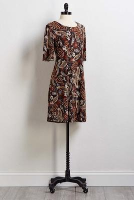 paisley puff shift dress