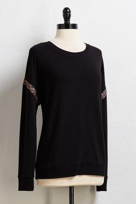 leopard trim tunic top