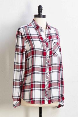 winter berry plaid top