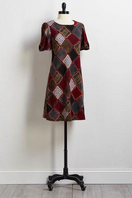 autumn patchwork shift dress