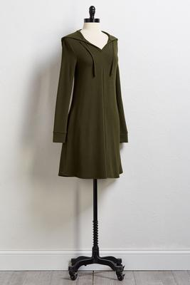 hooded swing dress