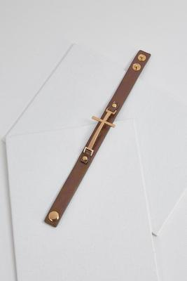 hammered cross strap bracelet