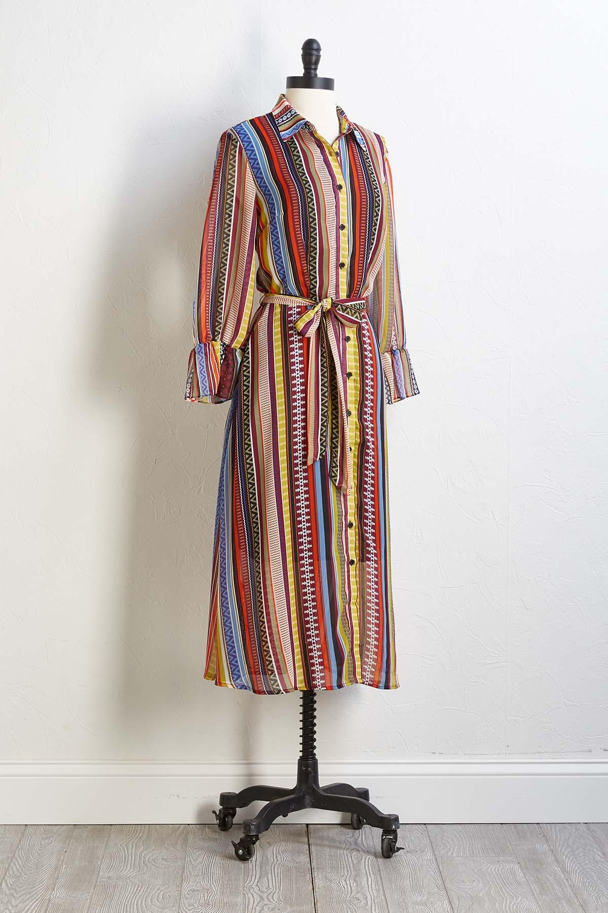 Tribal Stripe Maxi Dress