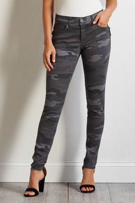 camo zip skinny pants