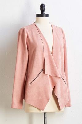 suede drape jacket