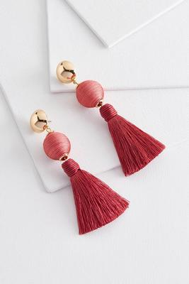 sphere and tassel earrings