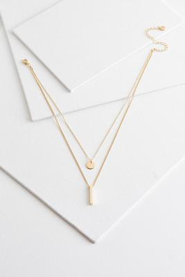 geo gold layered necklace