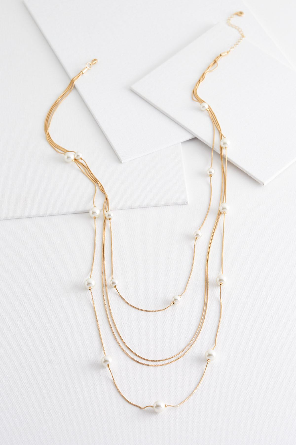 Layered Stationed Pearl Necklace