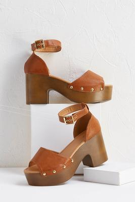 knock on wood platform heels