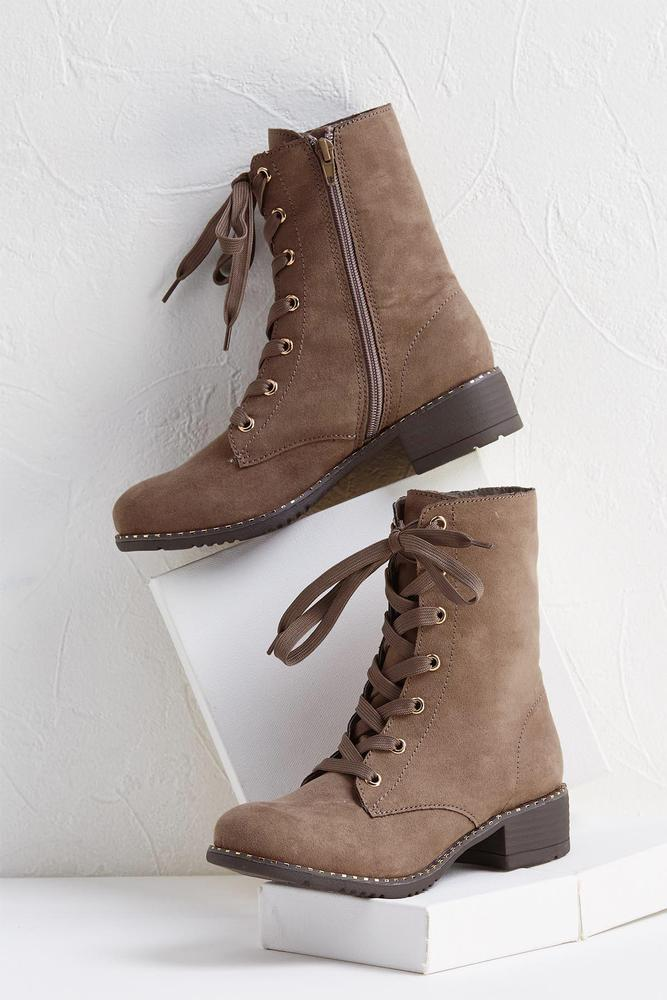 Embellished Faux Suede Boots