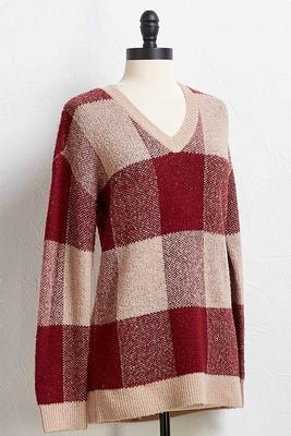 wine plaid sweater