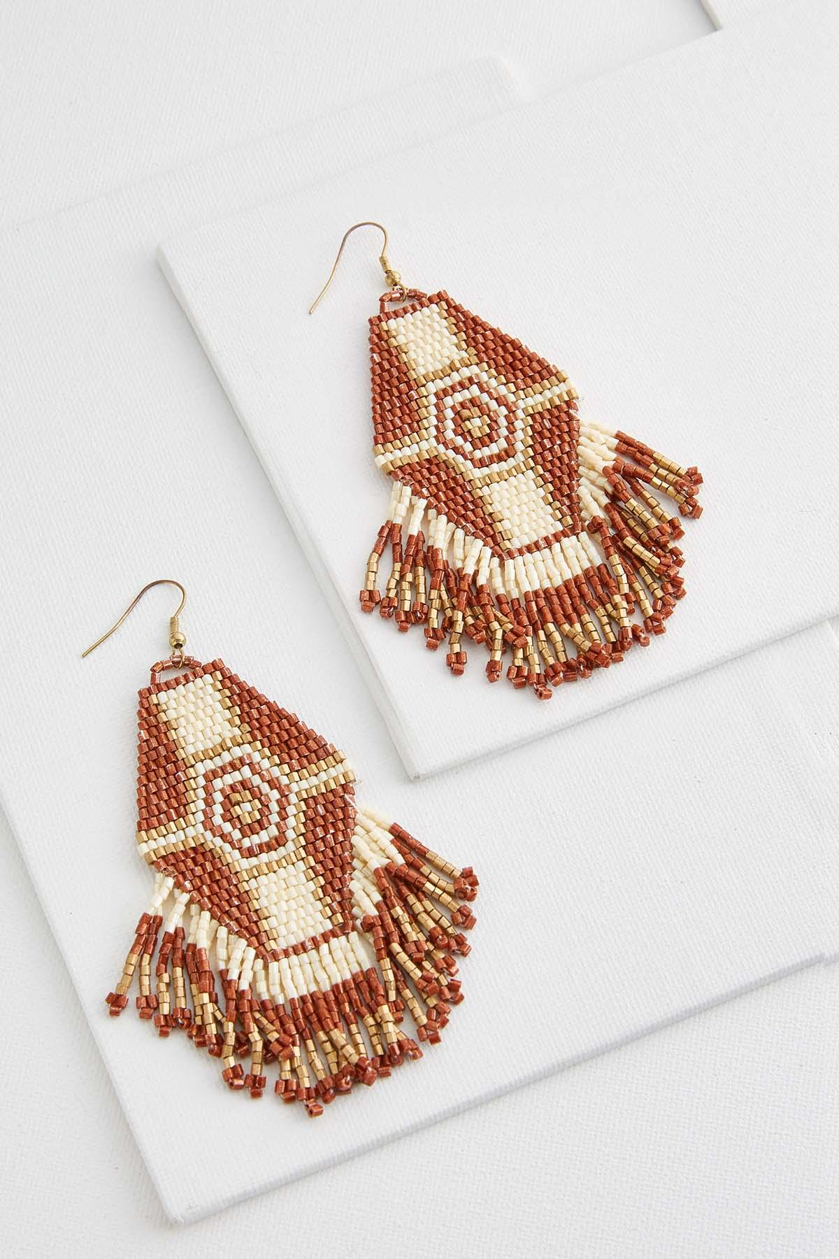 Mosaic Seed Bead Tassel Earrings