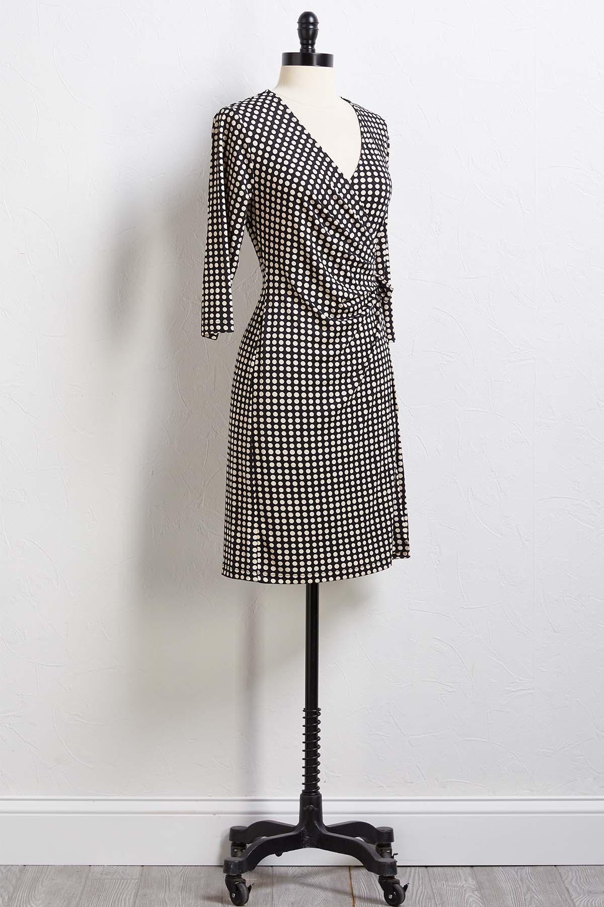 Dot Too Late Wrap Dress