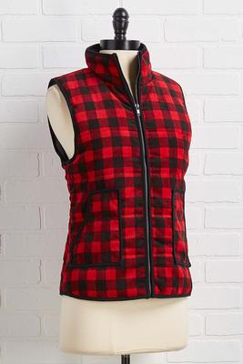 plaid puff vest