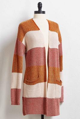 colorblock chenille cardigan