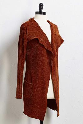 rust chenille cardigan