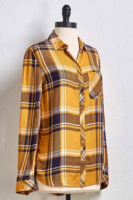 you`re golden plaid top