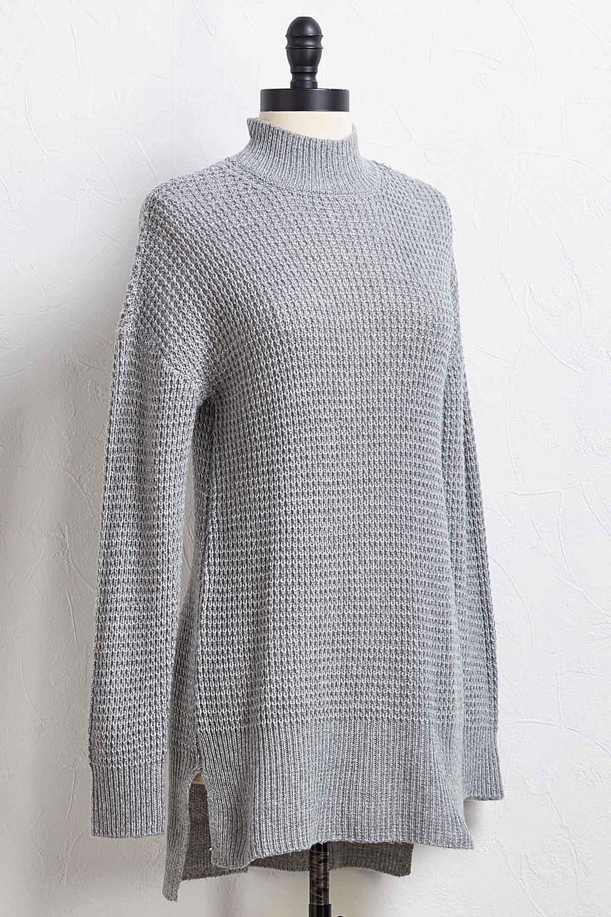 Waffled Mock Neck Top
